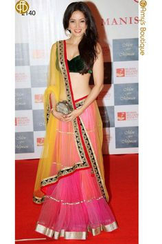 Yellow Pink Designer ‪#‎Lehenga‬ Choli..Need to make your own luxury shine shop Now ☛ http://www.fashion4style.com/woman/clothing/bollywood-replica/yellow--pink-designer-lehnga-choli/pid=MTQz