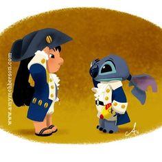 Lilo & Stitch by Amy Mebberson Lilo Stitch, Disney Stitch, Disney And Dreamworks, Disney Pixar, Disney Characters, Walt Disney, Cute Disney Drawings, Cute Drawings, Baymax