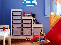 IKEA Aufbewahrung mit Boxen Spielzeug Kinder Regal System Rahmen weiß Ordnung