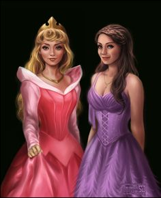 """Princess Aurora by `daekazu on deviantART ~ Disney """" Sarah Bolger as two versions of Princess Aurora. From classical Disney's 'Sleeping Beauty' and from 'Once Upon a Time'. """" ~ as quoted by artist on his site."""