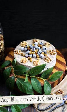 Vegan Blueberry Vanilla Creme Cake vegan, plantbased, Earth Balance, Made Just Right