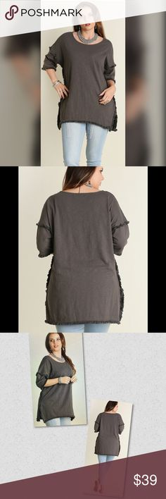 💥💥High Low Tunic with Fringed Hem💥💥 Charcoal Tunic. 65% Cotton 35% Polyester Tops Tunics