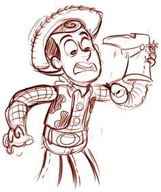 Cartoon Sketches, Disney Sketches, Disney Drawings, Disney Nerd, Disney Memes, Disney Fun, Disney Concept Art, Disney Fan Art, Desenho Toy Story
