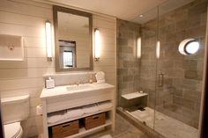 Gray, cream, tan color scheme. Use same tile on shower wall as main floor, different tile on shower floor.