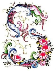 S colour floral Font Embroidery Alphabet, Embroidery Stitches, Hand Embroidery, Embroidery Designs, Fancy Letters, Floral Letters, Monogram Letters, Floral Font, Decoupage