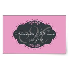 Monogram save the date stickers with frame -PINK from http://www.zazzle.com/mailing+stickers