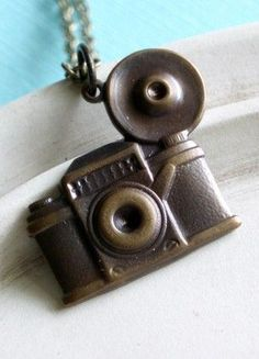 Camera Necklace Shutterbug Antiqued Brass; Aka this was made for me :)
