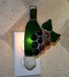 Grape Cluster with Wine Bottle Stained Glass by StainedGlassJewels, $22.95