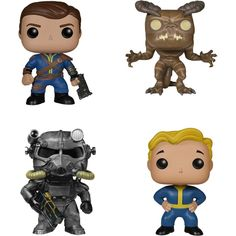 Funko - Fallout POP! Games Vinyl Collectors Set: Lone Wanderer Male, Deathclaw, Power Armor and Vault Boy - Multi