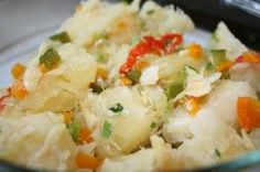 Cassava boiled served with salted cod (aka salt fish). love salted cod served with Yuca, plantains, and other root vegetables