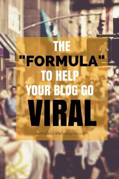 "The ""Formula"" to Help Your Blog Go Viral B2b Social Media Marketing, Marketing Digital, Social Media Tips, Blog Tips, Blog Design, Business Tips, Writing Jobs, Military Spouse, About Me Blog"