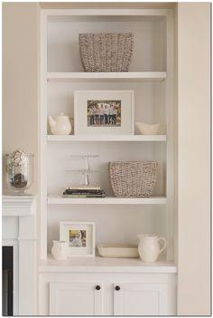 Appealing Built In Shelves Fireplace Surround Accessorizing Bookshelves Interior Design Creative Shelf Built In Bookshelf Fireplace. Built In Shelves Beside Fireplace. Built In Shelves Around Fireplace Cost. Built In Shelves Cost. Alcove Storage, Alcove Shelving, Built In Shelves, Built Ins, Alcove Decor, Alcove Cupboards, Alcove Ideas, Storage Ideas, White Shelves