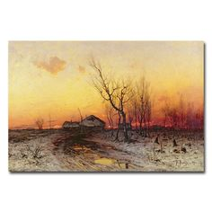 This ready to hang, gallery-wrapped art piece features a winter landscape at…