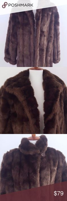 """Bennise Basso Brown faux fur Coat Size Large Dennis Basso Womens Size Large Brown Faux Fur Coat Beautiful Warm Coat. Has 1 top button at the collar and 2 rest eyelet closures.  had 2 side pockets.  Measurements  (Approximate): Length:33"""" Armpit to Armpit :23.5"""" Sleeve:25"""" Shoulder:18"""" Condition: Pre-owned, beautiful great condition. dennis basso Jackets & Coats Pea Coats"""