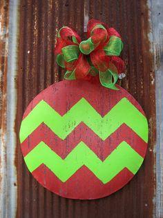 Chevron Christmas Ball Door Hanger by WiredupbyMellie on Etsy, $40.00