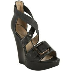 Chloe Black Leather 'Prince' Buckle Wedges ($404) found on Polyvore