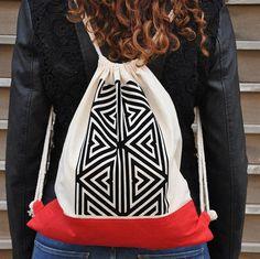 Mini backpack, Small backpack, Drawstring backpack, Embroidered backpack, Canvas drawstring, String bag, Canvas bag, Sack bag, Aztec bag #fashion #fashionblogger #bags #boho #bohostyle #tote #totebag #style #styleblogger #fashionista