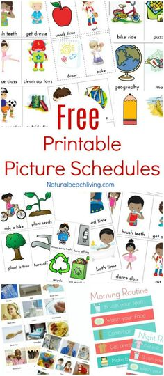 Free Printable Picture Schedule Cards Daily Visual Schedule Visual Schedules Special Needs Autism 10 Visual Schedule Printables for home & school Visual Schedule Printable Visual Schedule Printable, Visual Schedule Autism, Daily Schedule Kids, Schedule Board, Toddler Schedule, Visual Schedules, Free Printable, Daily Routines, Preschool Schedule Cards