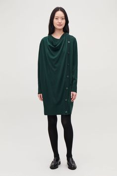 Model front image of Cos button-up merino wool dress in green Wardrobe Sale, Small Wardrobe, Merino Wool Sweater, Green Wool, Wool Dress, White Shirts, New Dress, Knitwear, Short Dresses