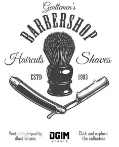 Vintage barber shop logo concept vector image on VectorStock Barber Shop Interior, Barber Shop Decor, Shop Interior Design, Gentleman Haircut, Brush Tattoo, Barber Logo, Barber Apron, Straight Razor Shaving, Barbershop Design