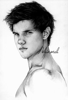 Taylor Lautner by kleinmeli on deviantART <--- I haven't watched any of the Twilight movies but I recognize the kid and this is a great drawing Twilight Jacob, Twilight Wolf, Vampire Twilight, Twilight Movie, Twilight Saga, Twilight Videos, Art Drawings Sketches Simple, Portrait Sketches, Pencil Art Drawings