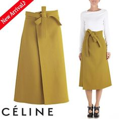 This is a CELINE 2016-17AW Wool Plain Medium Midi Elegant Style Midi Skirts of CELINE.