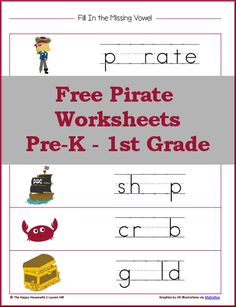 Pirate Worksheets for PreK-1st grade: includes beginning sounds, sorting, and more