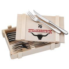 WMF Steakbesteck 12-teilig für 6 Personen in Holzkiste Cromargan Edelstahl…