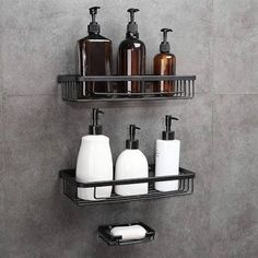 Gricol Shower Shelf No Drilling Space Aluminum Wall Mounted Rectangle Storage Organiser Self Adhesive Shower Caddy Basket with Soap Sponge Holder for Bathroom Kitchen 2 Tiers (Black). It can load up to Organize Kitchen Spices, Kitchen Spice Racks, Bathroom Shower Organization, Bathroom Rack, Shower Rack, Shower Tub, Standing Shower, Bamboo Bathroom, Concrete Bathroom