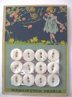 """ButtonArtMuseum.com - (::)  vintage """"Washington Pearls""""  button card from Washington, Iowa antique pearl button factory.  Pretty little girl strolling amongst the flowers with butterflies fluttering overhead."""