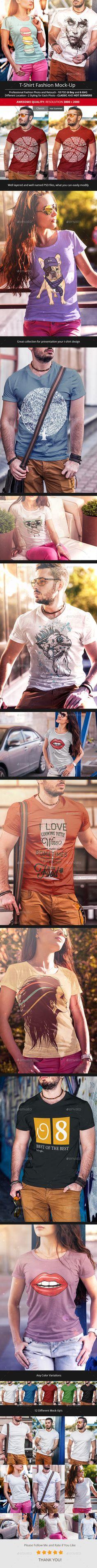 T-Shirt Fashion Mock-Up - T-shirts Apparel #mockup #designdisplay - Realistic design display men and women