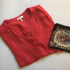 Joie Silk Blouse Gorgeous and bright tangerine colored blouse from Joie. 100% Silk, Size small, in perfect condition. Joie Tops Blouses