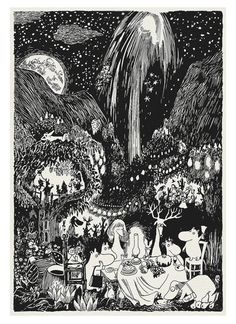 Great Party in Moominvalley classic print based by printedstory