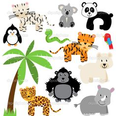 safari jungle animals cute digital clipart commercial use ok rh pinterest com forest animals clipart black and white forest animals clipart free