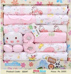 80728afd499d8 Pink and White Beautiful 16 pcs Newborn Gift Set for Indian Baby Girl