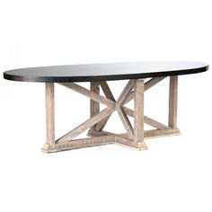 "Zentique Albertine Dining Table @Zinc_Door  Zentique's Albertine dining table fuses rustic and modern design for a dramatic accent. Its criss-cross frame exudes geometric panache, while a zinc-finished steel top offers industrial appeal. •95.5""W x 45.25""D x 30.75""H •Floor to top surface: 28.5""H •Sandy white reclaimed pine wood •Steel banded edge •Galvanized steel  Amazing base   about $5K"