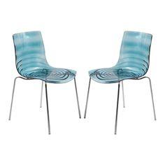 LeisureMod Astor Polycarbonate Modern Transparent Blue Dining Chair (Set of 2)