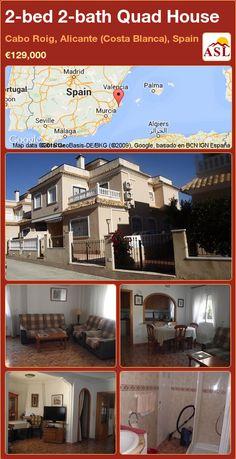 Quad House for Sale in Cabo Roig, Alicante (Costa Blanca), Spain with 2 bedrooms, 2 bathrooms - A Spanish Life Murcia, Alicante, Valencia, Quad, Cabo, Terrace, Bathrooms, Spanish, Villa