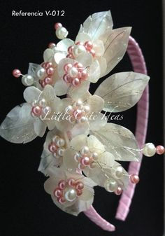 Kanzashi Flowers, Origami Flowers, Lace Flowers, Flower Girl Headbands, Wedding Headband, Diy Projects To Try, Hair Jewelry, Hair Pieces, Diy And Crafts