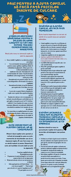 #Parenting #părinți #copii #download #free #Infographic Pași pentru a ajuta copilul să facă față fricilor înainte de culcare (Infografic) Spring Activities, Toddler Activities, Parenting Memes, Kids And Parenting, Positive Discipline, Therapy Activities, School Counseling, Raising Kids, Kids Education