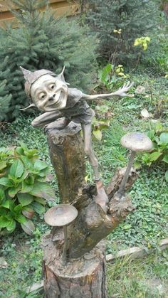 Happy Elf on Tree Stump with Toadstools