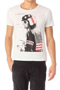 T-shirt coton Easy Rider Ecru Selected Homme sur MonShowroom.com
