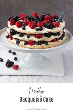Super delicate layers of almond meringue are filled with mascarpone whipped cream and fresh berries. Almond Dacquoise is a special dessert you'll quickly fall in love with. Fancy Desserts, Summer Desserts, Dacquoise Recipe, Lavender Macarons, Mascarpone Recipes, Chocolate Treats, Some Recipe, Clean Recipes, Meringue