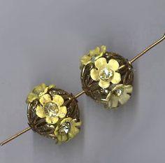 vintage rhinestone beadballs yellow rhinestone flowers with filigree TWO rhinestone beads 14mm x 18mm each by beadtopiavintage on Etsy