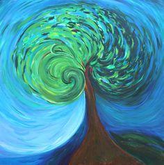 Spiral Tree, Green, Acrylic, Nature, Wall art, Home Decor, Fine Art, Painting, Art, Print.