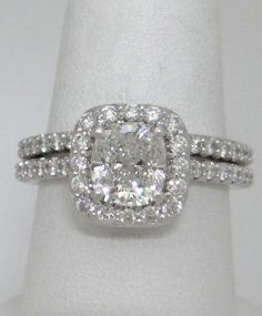 RITANI 950 PLATINUM 3.00ct HALO CUSHION DIAMOND ENGAGEMENT RING WEDDING SET… carolyn@sumptersjewelry.com