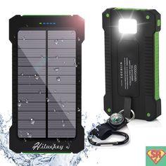 Portatile Caricabatterie 10000mAh Hiluckey Dual USB Batteria Esterna Ricarica Rapida - Solare Power Bank LED Torcia