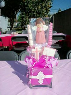Baptism, christening, or communion centerpiece Girl Baptism Party, Baby Boy Baptism, Baby Christening, Diy Party, Party Gifts, Party Favors, Party Ideas, Gift Ideas, Baptism Centerpieces