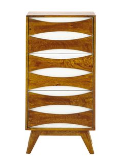 Solid mango wood storage cabinet in white W 45cm Moon