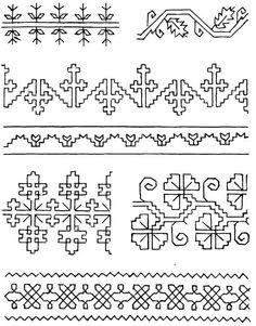 volkskunst mustertuch - Google Search Kasuti Embroidery, Hand Work Embroidery, Folk Embroidery, Vintage Embroidery, Cross Stitch Embroidery, Embroidery Patterns, Cross Stitch Borders, Modern Cross Stitch, Cross Stitching